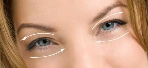наносить средство вокруг глаз