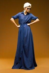 платье-рубашка в пол