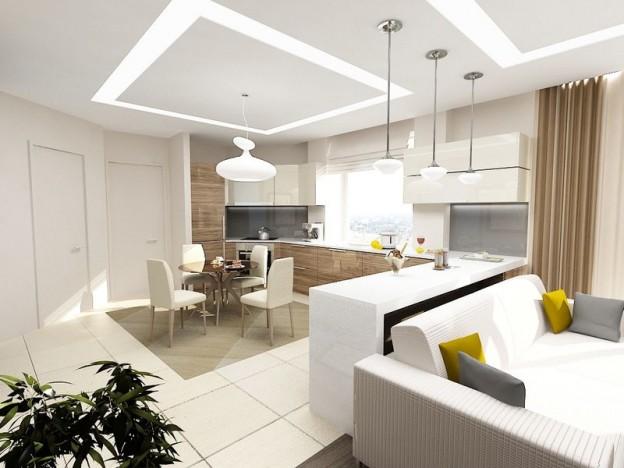 Дизайн белой гостиной совмещенной с кухней