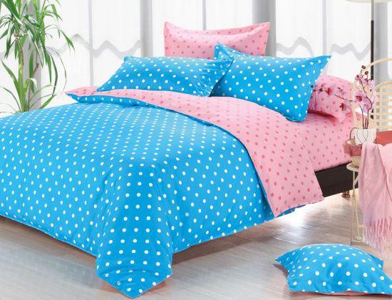 постельное белье голубое с розовым