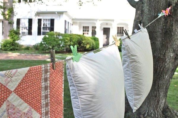 сушка подушек после стирки на улице