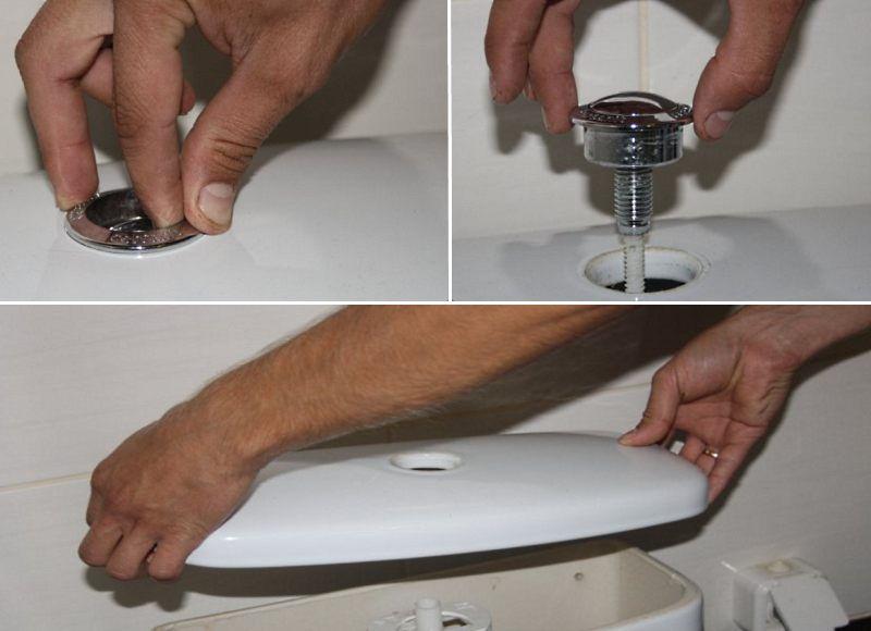 как снять крышку с бочка унитаза